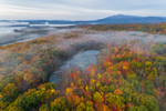Small Pond in Early Morning Ground Fog Surrounded by Colorful Fall Foliage near Ashokan Reservoir, Catskill Park, Hamlet of Glenford, Town of Hurley, NY