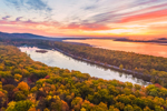 Sunrise over Catskill Mountains Scenic Byway between Ashokan Reservoir and Kenozia Lake, Catskill Park, Hamlet of Glenford, Town of Hurley, NY
