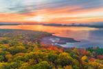 Brilliant Sunrise over Ashokan Reservoir in Fall, Catskill Park, Glenford, Town of Hurley, NY
