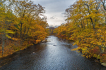 Colorful Fall Foliage along Quaboag River, Palmer, MA