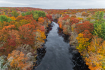 Spalding Pond and Surrounding Forests at Samuel Cote Preserve in Fall, North Stonington, CT