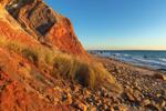 Late Afternoon Light Shines on Colorful Clay Cliffs along Moshup Beach near Gay Head, Martha's Vineyard, Aquinnah, MA