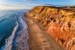 Early Evening Light Shines on Colorful Clay Cliffs along Moshup Beach near Gay Head, Martha's Vineyard, Aquinnah, MA