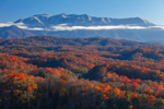 Snow-capped Great Smoky Mountains with Forests of Colorful Foliage in Foreground, View South from Shields Mountain out to Great Smoky Mountains National Park, View from Pigeon Forge, TN