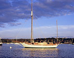 Evening Light on Wooden Sailboat in Red Brook Harbor, Buzzards Bay, Cataumet, Cape Cod