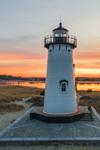 Sunset at Edgartown Harbor Lighthouse with Lit Holiday Lights, Martha's Vineyard, Edgartown, MA