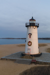 Cloudy Skies at Edgartown Harbor Lighthouse with Holiday Wreath and Lights, Martha's Vineyard, Edgartown, MA