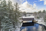 Hancock-Greenfield Covered Bridge (aka County Bridge) over Contoocook River in Winter under Clearing Skies, View from Greenfield, NH