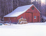 Red Barn , Firewood and Wreath
