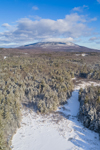 Frozen Scott Brook and Scott Pond in Winter with Mount Monadnock in Distance, View from Fitzwilliam, NH