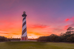 Dramatic Sunset at Cape Hatteras Lighthouse, Cape Hatteras National Seashore, Outer Banks, Hatteras Island, NC