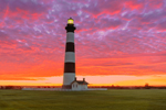 Dramatic Sunrise at Bodie Island Lighthouse, Cape Hatteras National Seashore, Outer Banks, Bodie Island, NC