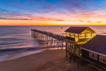 Sunrise over Atlantic Ocean and Avalon Fishing Pier, Outer Banks, Kill Devil Hills, NC
