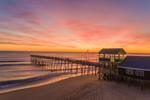 Sunrise over Atlantic Ocean and Avalon Fishing Pier, Outer Banks, Kill Devil Hills, NC