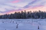Winter Sunset over Wetlands in Whetstone Woods Wildlife Sanctuary, Wendell, MA