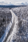 Country Road through Ice-covered Trees in Green Mountain National Forest, Winhall, VT