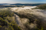 Morning Light Shines on Ground Fog over Millers River and Bearsden Forest Conservation Area in Early Spring, Athol, MA