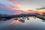 Sunrise over Lobster Boat Fleet in The Basin at Perkins Cove, Ogunquit, ME