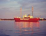 Nantucket Lightship Reflecting in Waters of Nantucket Harbor