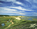 Cirrus Clouds and Blue Skies over Salt Marsh and Dunes, Great Island, Cape Cod National Seashore