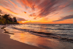 Sunset over Lake Erie and Shoreline along Main Street Beach, Great Lakes Region, Vermilion, OH