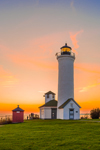 Sunset at Tibbetts Point Lighthouse (First built 1827, rebuilt 1854) at Confluence of Lake Ontario and St. Lawrence River, Great Lakes Region, Cape Vincent, NY