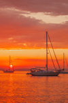 Sunset over Boats in Napatree Anchorage, Little Narragansett Bay, Village of Watch Hill, Westerly, RI