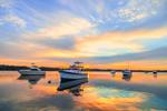 Boats at Sunrise on the Kickamuit River off Narraganset Bay, Bristol and Warren, RI