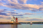 Sloop Sailing by Rockland Breakwater Light in Late Evening, Rockland Harbor, West Penobscot Bay, Rockland, ME