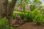 Decorative Antique Wheelchair in Garden, Cape Cod, Yarmouth, MA