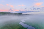 Ground Fog at Sunrise over Thousand Acre Brook in Thousand Acre Swamp, Phillipston, MA