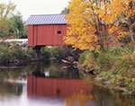 1789 Carlton Bridge, New 1869 (#7) and Red Maple in Fall, South Branch Ashuelot River