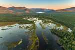 The Logans Wetlands in Early Morning Light Looking North with Mountains in Distance, Kennebago Lake Region, Stetsontown TWP, ME