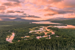 Sunrise at The Logans Wetlands with Kennegago Lake and Mountains in Distance , Kennebago Lake Region, Stetsontown TWP, ME