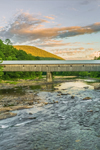 Sunset over West Dummerston Covered Bridge (Longest Covered Bridge Entirely in Vermont) Spanning West River, Dummerston, VT