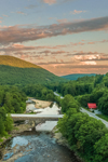Sunset over West Dummerston Covered Bridge (Longest Covered Bridge Entirely in Vermont) Spanning West River, Dummerston, VT