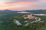 Sunrise over The Logans Wetlands, Kennebago River, and Kennebago Lake with Mountains in Distance, Kennebago Lake Region, Stetsontown TWP, ME