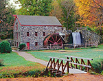 Longfellow's Wayside Inn Grist Mill in Fall with Footbridge