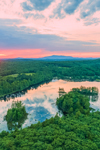 Sunset over Wallace Pond, Mount Monadnock in Distance, Ashburnham, MA