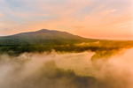 Sunrise through Ground Fog over Mount Monadnock and Cummings Meadow Reservoir, Jaffrey, NH