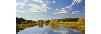 Cumulus Clouds and Blue Sky over Sudbury River in Fall, Great Meadows National Wildlife Refuge