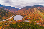 View of Franconia Notch, Echo Lake, and Cannon Mountain from Artists Bluff, Franconia Notch State Park, White Mountains Region, Franconia, NH