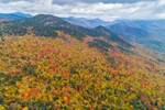 Colorful Fall Foliage on Mountainside in White Mountain National Forest, White Mountains Region, View from Bartlett, NH