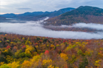 Early Morning Fog over East Branch Pemigewasset River in White Mountain National Forest in Fall, Black Mountain in Distance, White Mountains Region, Lincoln, NH