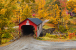 Green River Covered Bridge in Fall, Spanning Green River, Built 1870, Guilford, VT