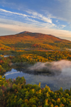 Ground Fog in Early Morning Light on Mount Monadnock and Cummings Meadow Reservoir in Fall, Jaffrey, NH