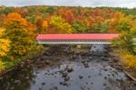 Ashuelot Covered Bridge Spanning Ashuelot River in Fall, Built 1864, Village of Ashuelot, Winchester, NH
