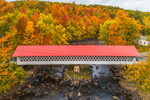 Ashuelot Covered Bridge Spanning Ashuelot River in Fall, Built 1864, Village of Ashuelot, Winchester, NH