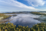 Ground Fog over Meetinghouse Pond in Fall, Meetinghouse Pond Wildlife Sanctuary, Marlborough, NH