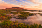 Ground Fog at Sunrise over Mount Monadnock and Cummings Meadow Reservoir in Fall, Jaffrey, NH